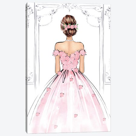 Rose Gown Brunette Canvas Print #LLN22} by LaLana Arts Canvas Art