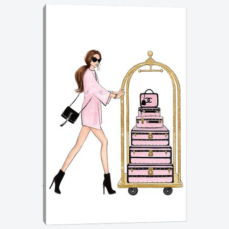 Girl With Suitcases Canvas Print #LLN3} by LaLana Arts Canvas Art Print