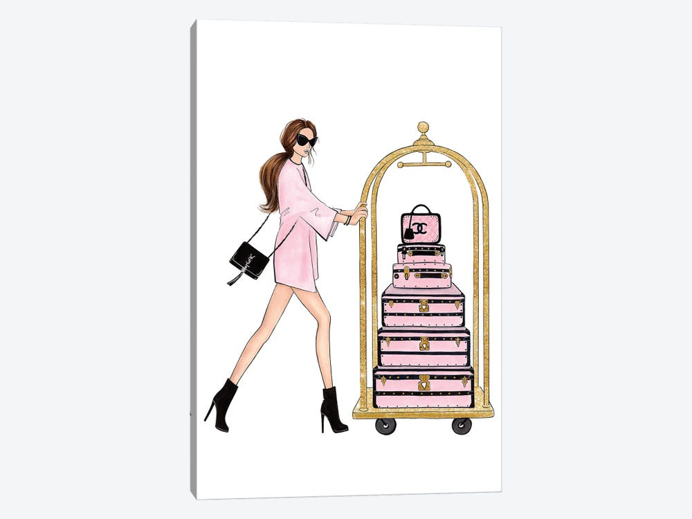Girl With Suitcases by LaLana Arts 1-piece Canvas Print