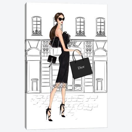 Shopping In Style Brunette Canvas Print #LLN41} by LaLana Arts Canvas Art