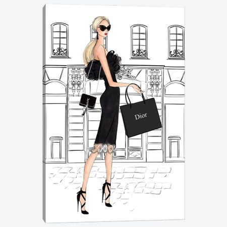 Shopping In Style Blonde Canvas Print #LLN42} by LaLana Arts Canvas Artwork