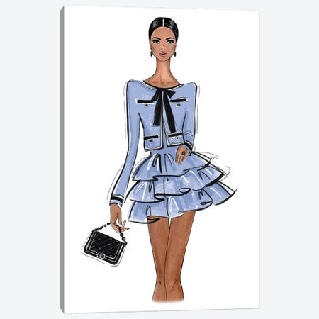 Chanel Outfit Blue Canvas Print #LLN45} by LaLana Arts Canvas Print