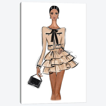 Chanel Outfit Nude Canvas Print #LLN46} by LaLana Arts Art Print