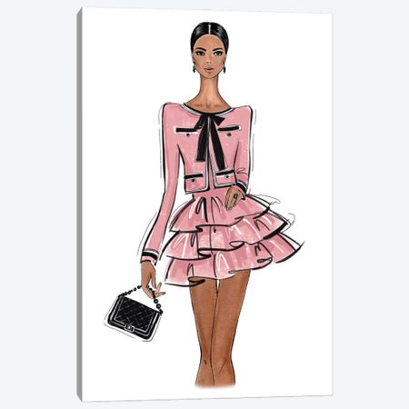 Chanel Outfit Pink Canvas Print #LLN47} by LaLana Arts Art Print
