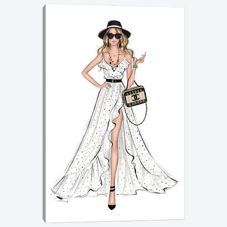 Resort Outfit Blonde Girl Canvas Print #LLN52} by LaLana Arts Art Print