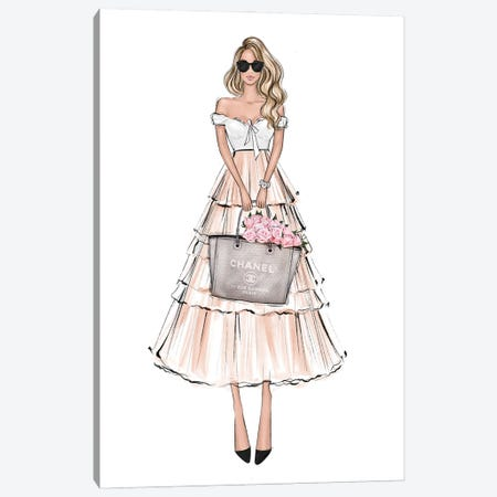 Spring Outfit Blonde Girl Canvas Print #LLN54} by LaLana Arts Canvas Artwork