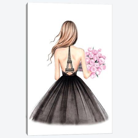 Eiffel Tower Dress Canvas Print #LLN5} by LaLana Arts Canvas Wall Art