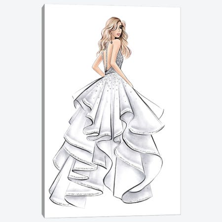 White Gown Blonde Girl Canvas Print #LLN62} by LaLana Arts Canvas Wall Art