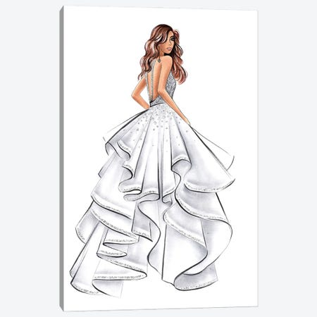 White Gown Brunette Girl Canvas Print #LLN63} by LaLana Arts Canvas Artwork