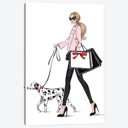 Girl With Dalmateen Blonde Canvas Print #LLN84} by LaLana Arts Canvas Art Print