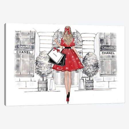 Christmas Shopping Blonde Girl Canvas Print #LLN96} by LaLana Arts Canvas Artwork