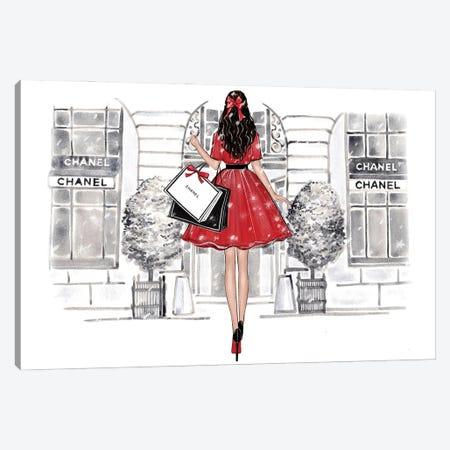 Christmas Shopping Brunette Girl Canvas Print #LLN97} by LaLana Arts Canvas Art