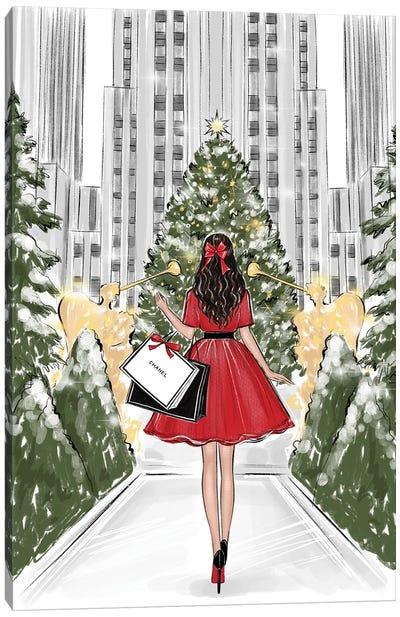 Rockefeller Center Brunette Girl Canvas Art Print