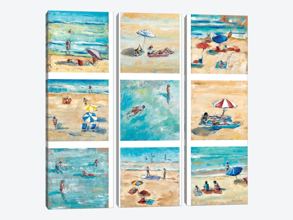 A Day At The Beach by Adolf Llovera 3-piece Canvas Wall Art