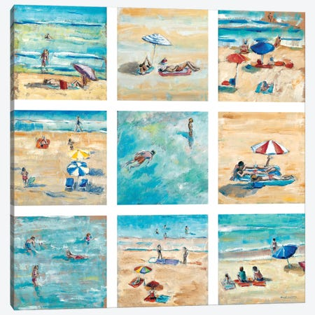 A Day At The Beach Canvas Print #LLO1} by Adolf Llovera Canvas Wall Art