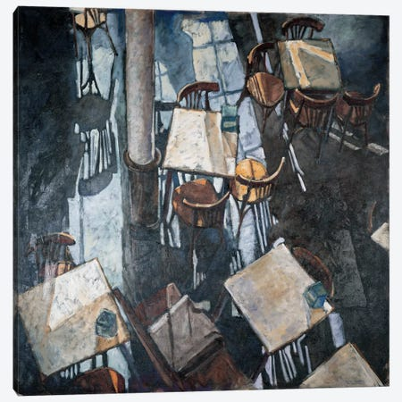 Shadows At The Zurich Café Canvas Print #LLO2} by Adolf Llovera Canvas Art