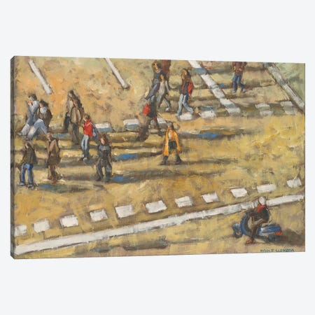 Taxis And Zebra Crosswalk III 3-Piece Canvas #LLO4} by Adolf Llovera Art Print