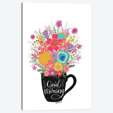Good Morning Coffee Floral Canvas Print #LLR2} by Lisa Larson Canvas Art
