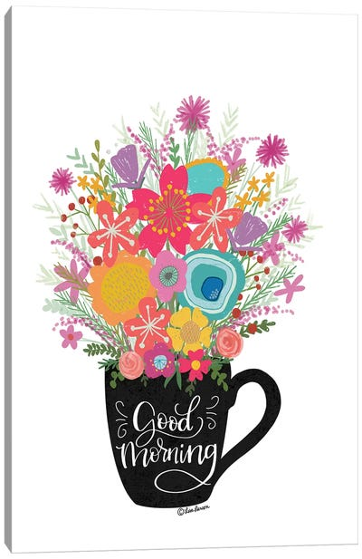 Good Morning Coffee Floral Canvas Art Print