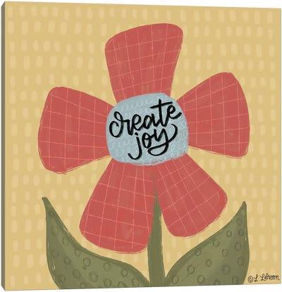 Create Joy Flower Canvas Art Print