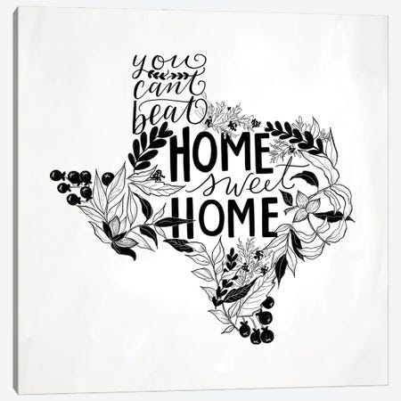 Home Sweet Home Texas B&W Canvas Print #LLV107} by Lily & Val Canvas Art