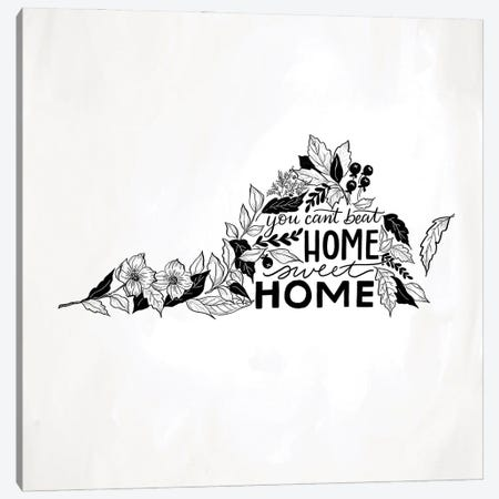 Home Sweet Home Virginia B&W Canvas Print #LLV109} by Lily & Val Canvas Art Print