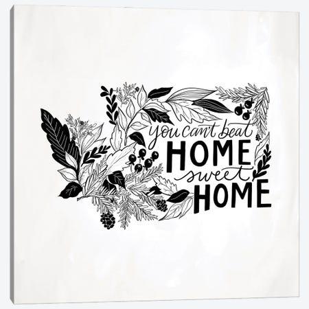Home Sweet Home Washington B&W Canvas Print #LLV111} by Lily & Val Canvas Wall Art