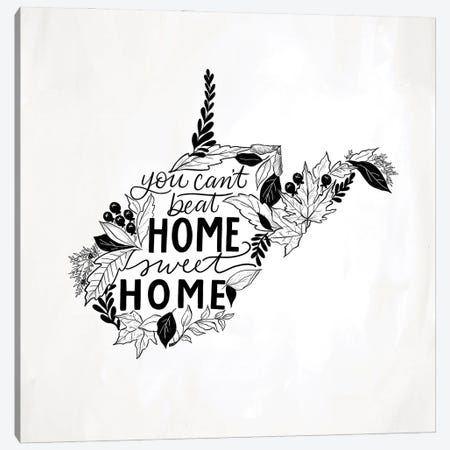 Home Sweet Home West Virginia B&W Canvas Print #LLV113} by Lily & Val Canvas Artwork