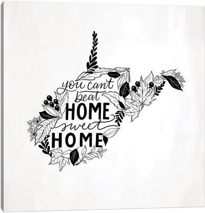 Home Sweet Home West Virginia B&W Canvas Art Print