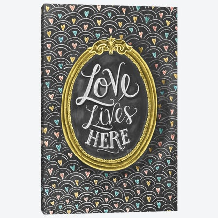 Love Lives Here Frame Canvas Print #LLV142} by Lily & Val Art Print