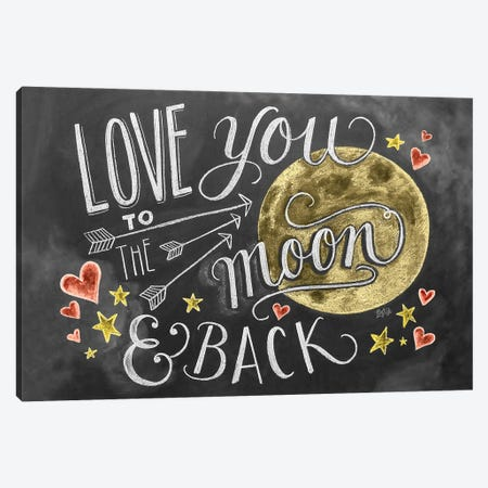 Love You To The Moon Hearts Canvas Print #LLV146} by Lily & Val Canvas Wall Art