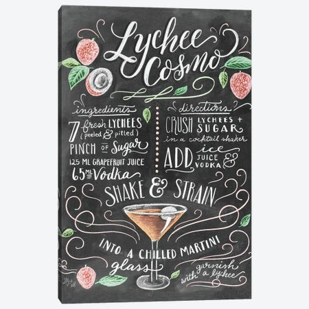 Lychee Cosmo Recipe Canvas Print #LLV147} by Lily & Val Canvas Art