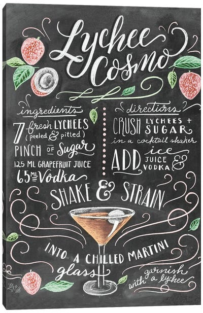 Lychee Cosmo Recipe Canvas Art Print