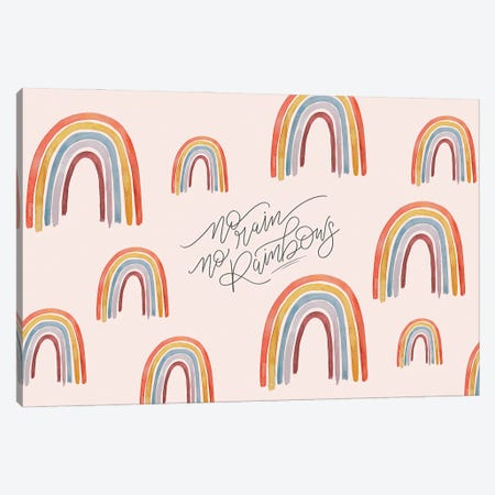 No Rain No Rainbows Canvas Print #LLV157} by Lily & Val Art Print