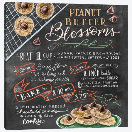 Peanutbutter Blossoms Recipe Canvas Print #LLV165} by Lily & Val Canvas Artwork