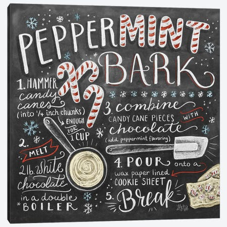 Peppermint Bark Recipe Canvas Print #LLV166} by Lily & Val Canvas Art