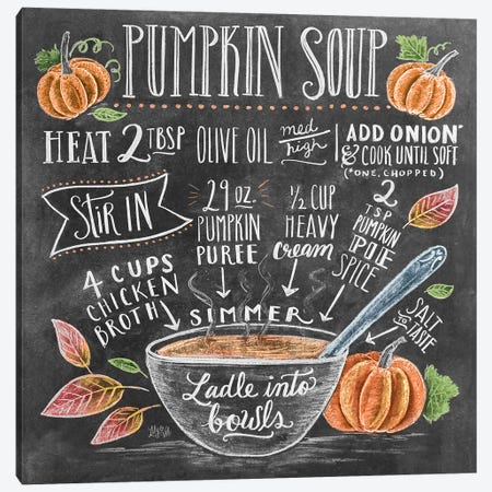 Pumpkin Soup Recipe Canvas Print #LLV176} by Lily & Val Art Print