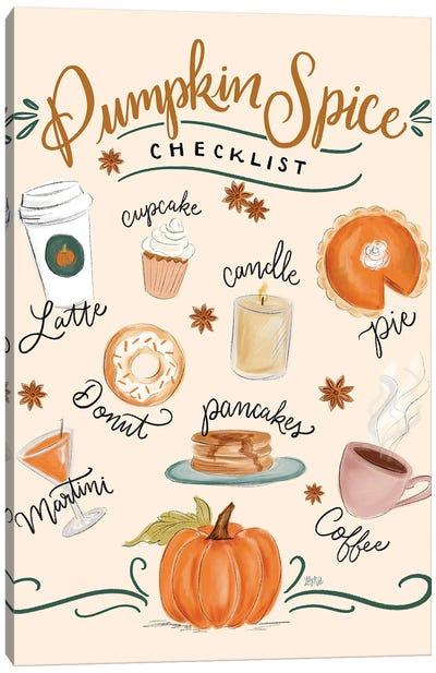 Pumpkin Spice Checklist Canvas Art Print