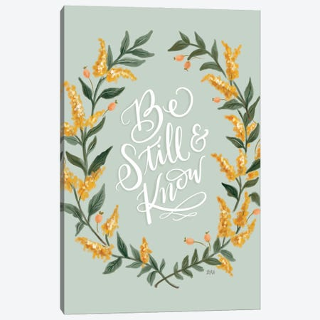 Be Still And Know - Green Canvas Print #LLV17} by Lily & Val Canvas Wall Art