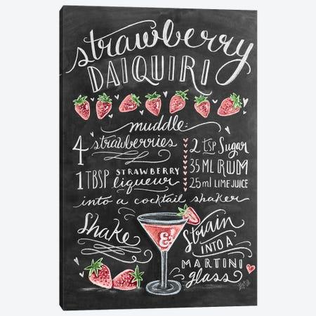 Strawberry Daiquiri Recipe Canvas Print #LLV187} by Lily & Val Canvas Artwork