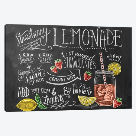 Strawberry Lemonade Recipe Canvas Print #LLV188} by Lily & Val Art Print