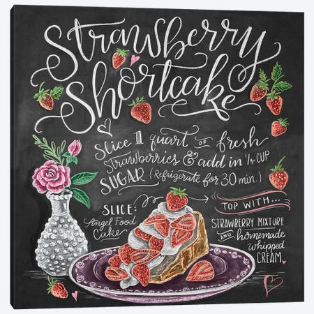 Strawberry Shortcake Recipe Canvas Print #LLV189} by Lily & Val Art Print
