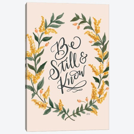 Be Still And Know - Pink Canvas Print #LLV18} by Lily & Val Canvas Art Print