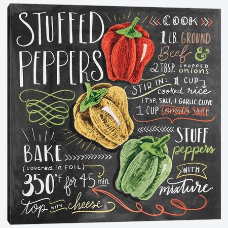 Stuffed Peppers Recipe Canvas Print #LLV190} by Lily & Val Canvas Art