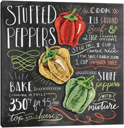 Stuffed Peppers Recipe Canvas Art Print