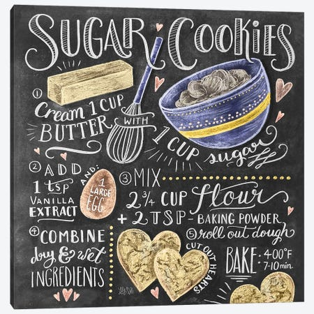 Sugar Cookies Recipe Canvas Print #LLV193} by Lily & Val Canvas Wall Art