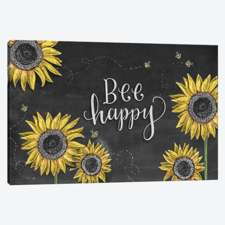 Sunflower Bee Happy Canvas Print #LLV194} by Lily & Val Art Print