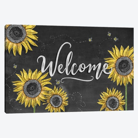 Sunflower Welcome Canvas Print #LLV195} by Lily & Val Art Print