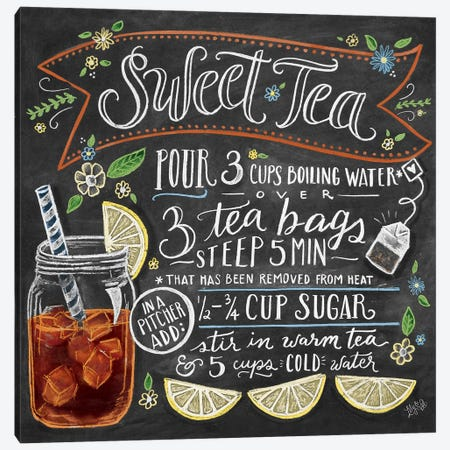 Sweet Tea Recipe Canvas Print #LLV198} by Lily & Val Canvas Artwork