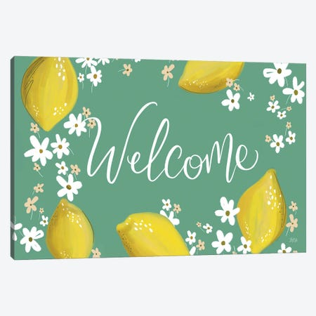 Welcome Lemon Canvas Print #LLV214} by Lily & Val Canvas Art